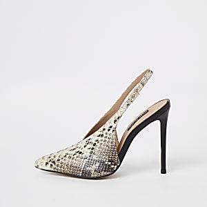 Beige snake print V slingback court shoes