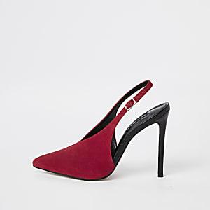 Chaussures à talons en cuir rouge à bride arrière en V