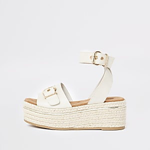 Sandales blanches à semelle compensée style espadrille
