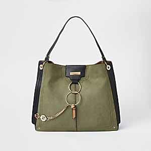 0a6fbfe224204 Khaki oversized ring front slouch bag