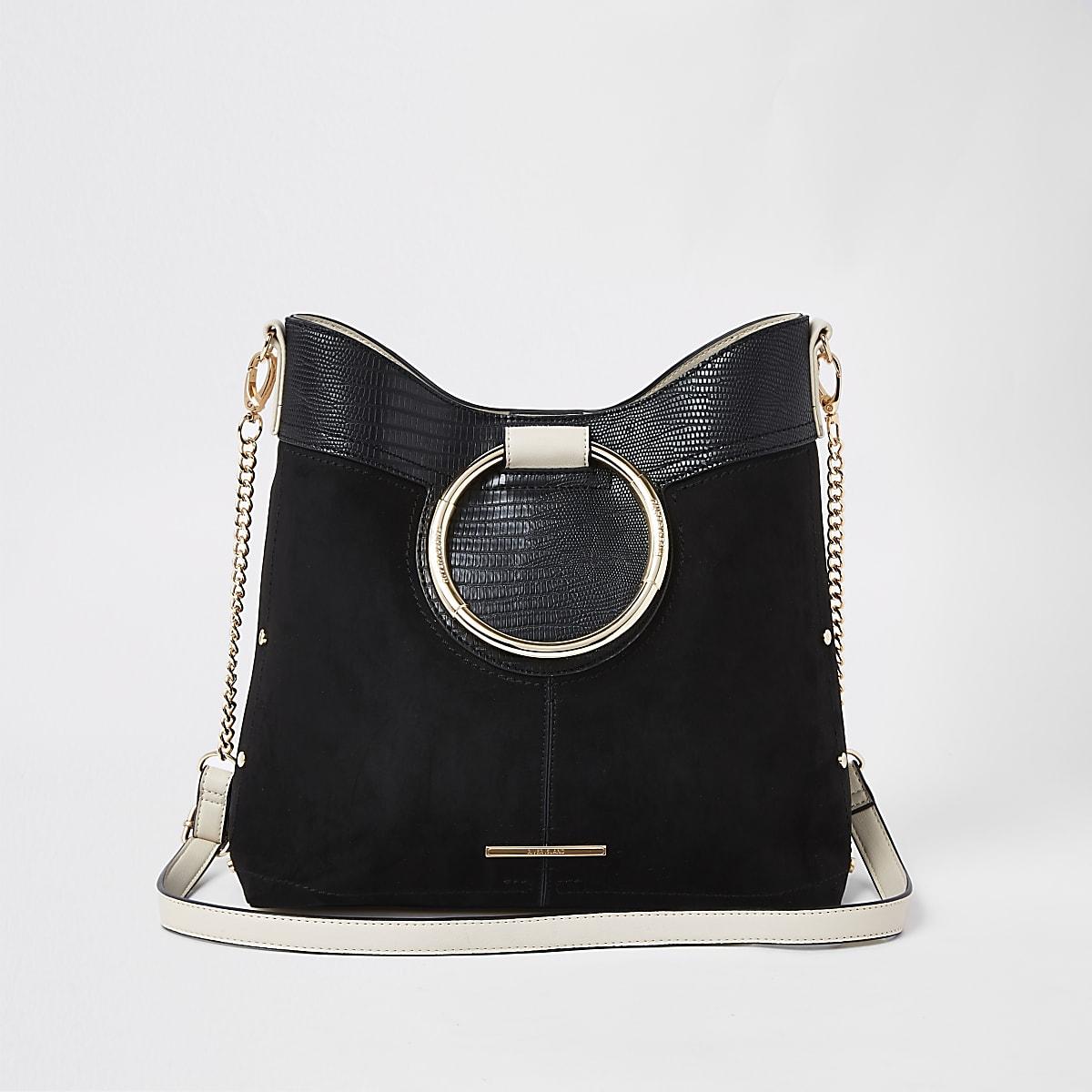 Black ring handle bucket bag