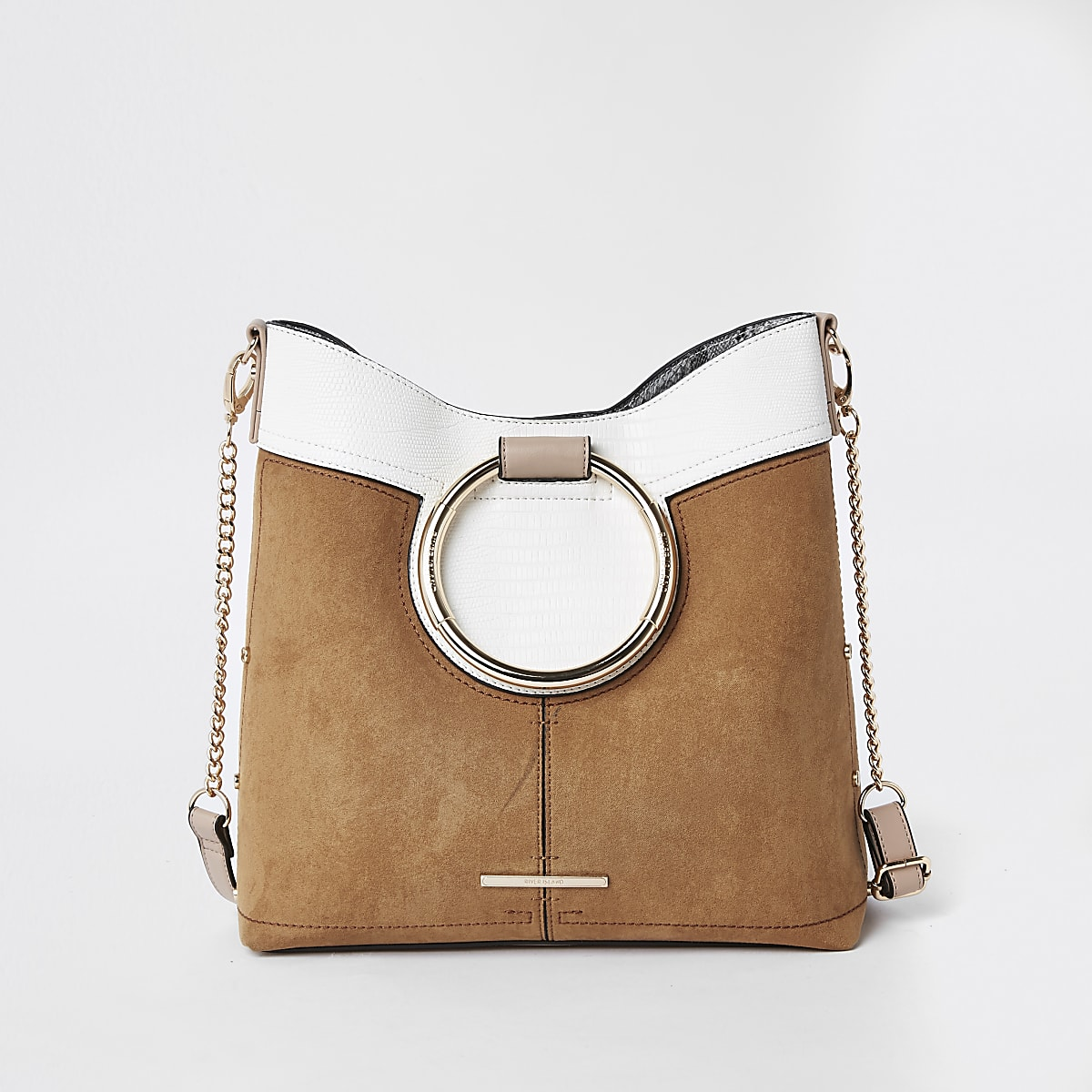 Beige metal hoop tote bag