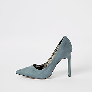 Blue faux suede wide fit court shoes