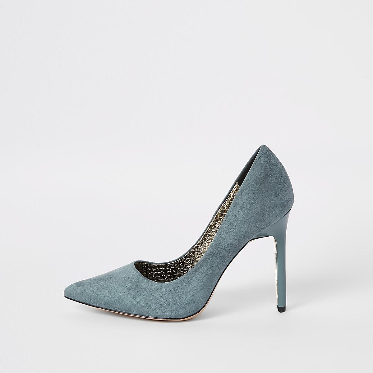 185b58f3b3b4 Blue faux suede wide fit court shoes - Shoes - Shoes   Boots - women