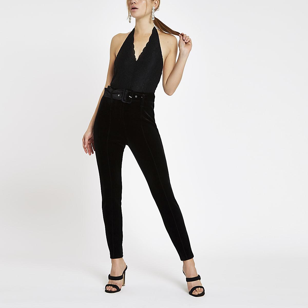 Black lace halter neck bodysuit