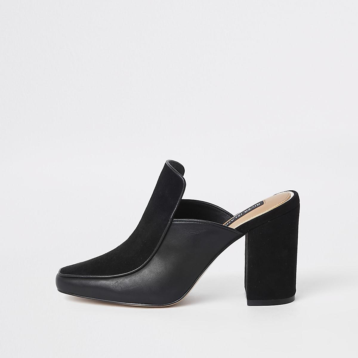 Black leather wide fit block heel mules