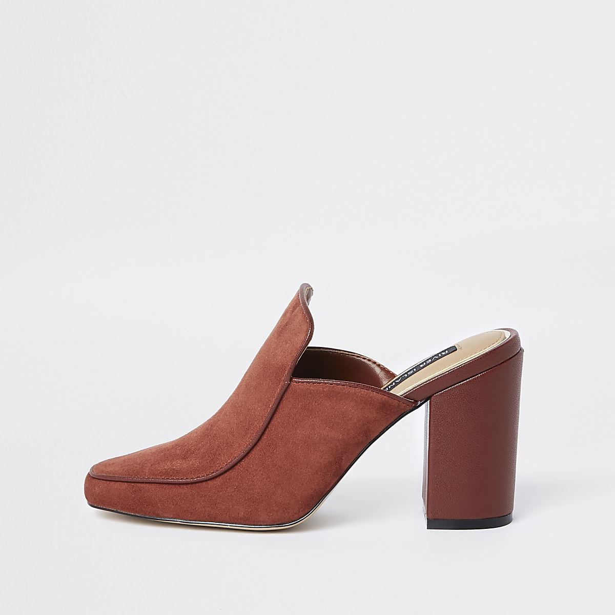 Rust suede wide fit block heel mules