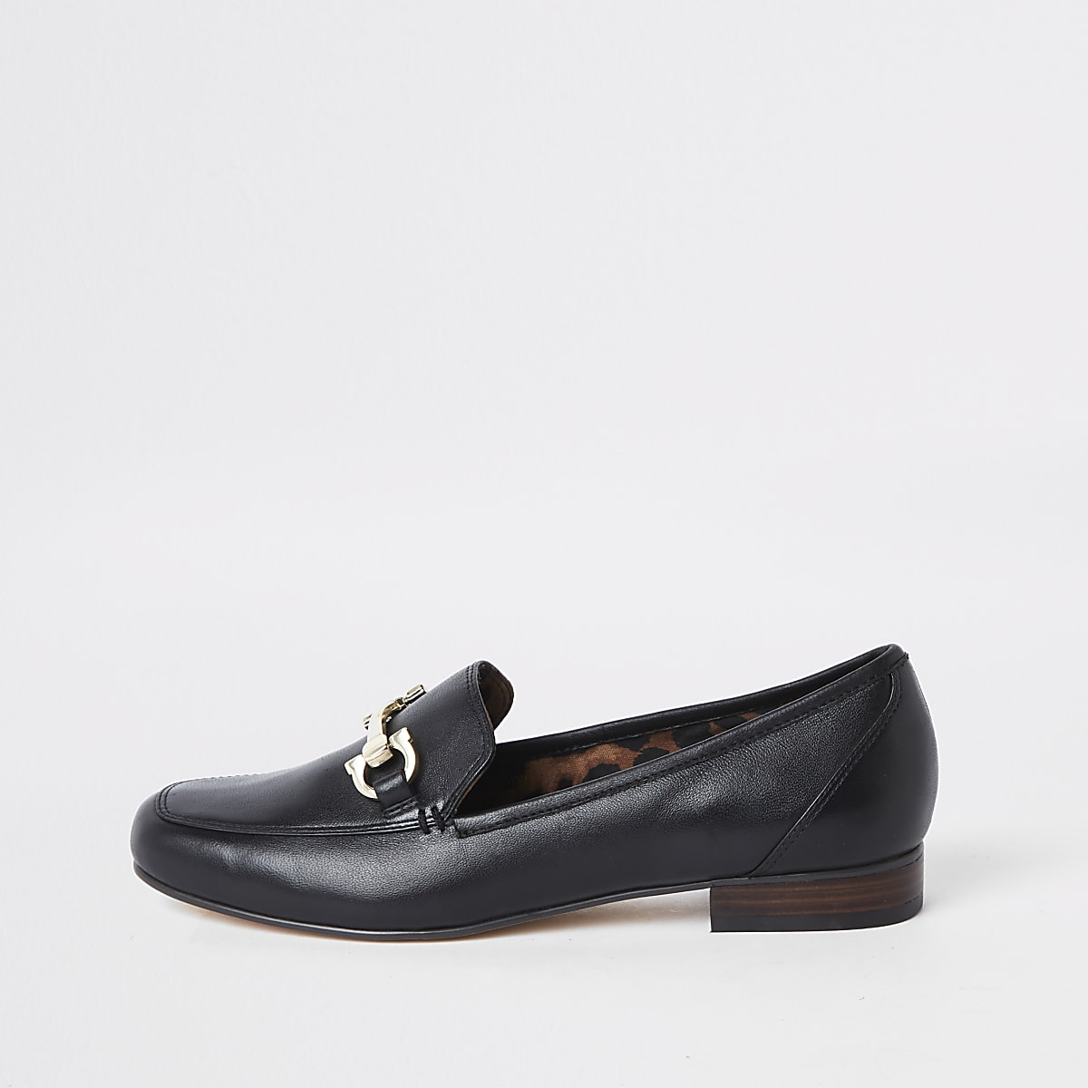 Black wide fit leather snaffle loafers