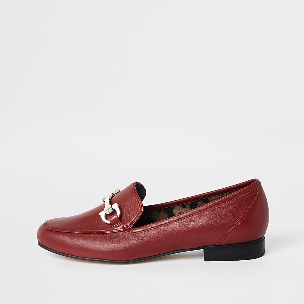 Red wide fit leather snaffle loafers