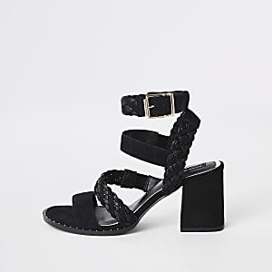 Black leather woven stud wide fit sandals