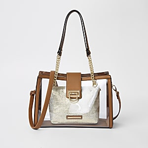 Beige perspex pouch tote bag