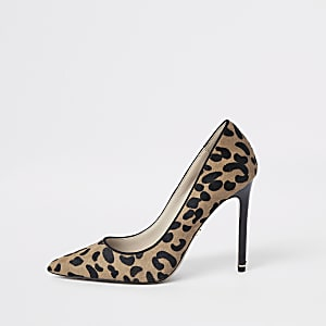 Brown leather wide fit leopard pumps