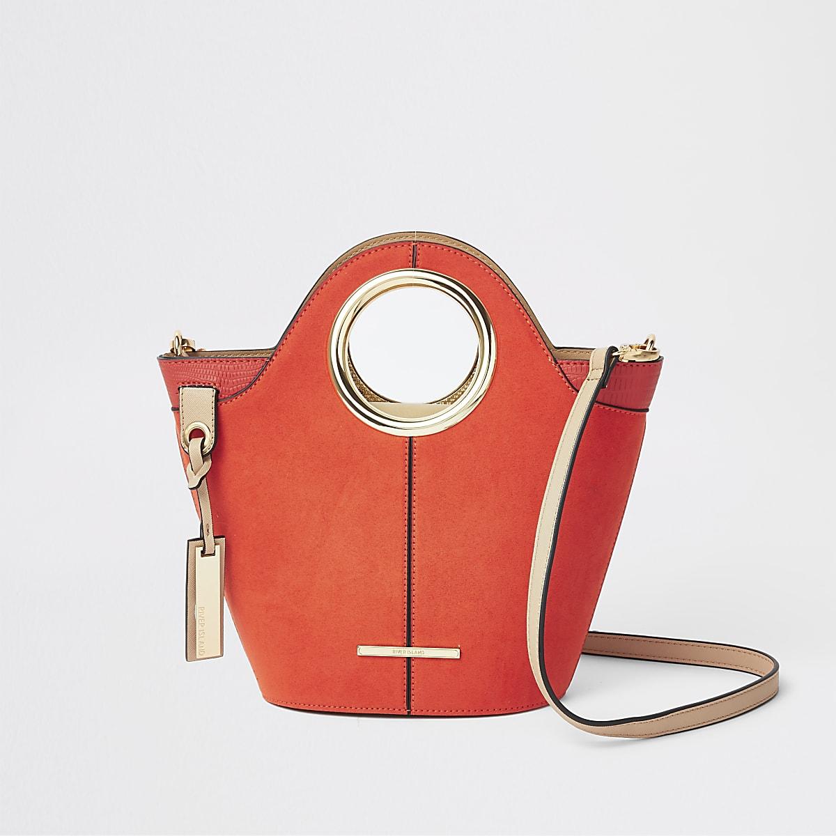 Bright red circle handle mini tote bag