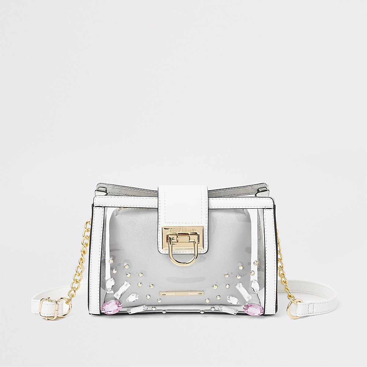 White perspex pouch cross body bag