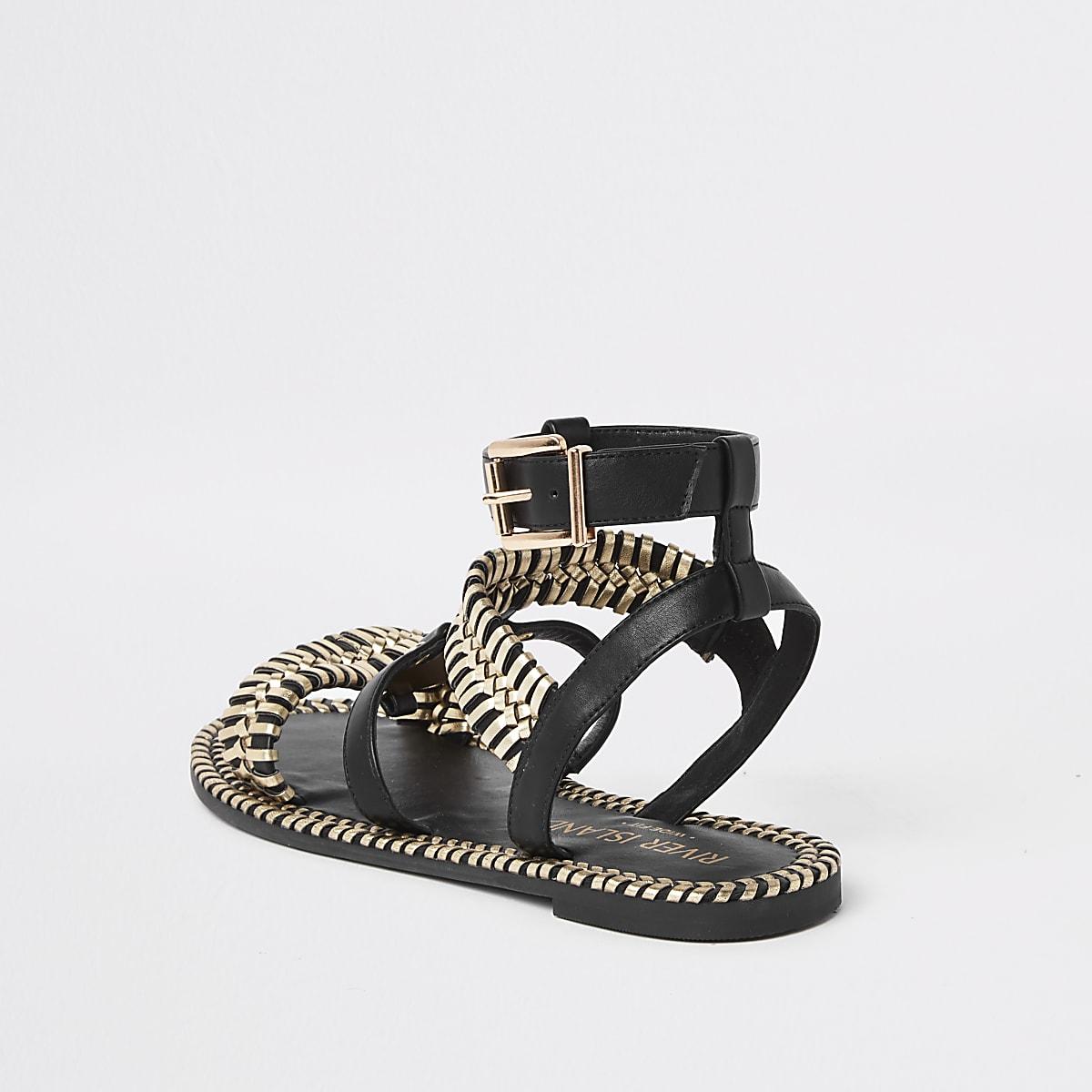 07c99c45982a Black cage wide fit flat sandal - Sandals - Shoes   Boots - women