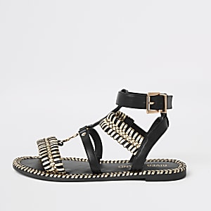 Black cage wide fit flat sandal