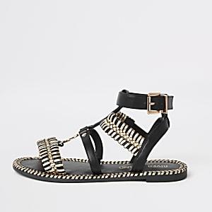 Zwarte platte sandelen met brede pasvorm