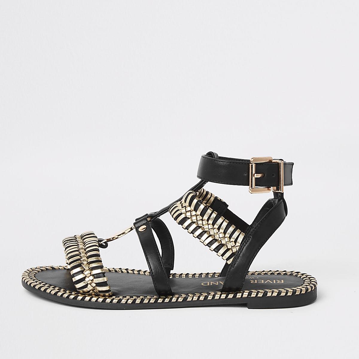 Black cage wide fit flat sandal