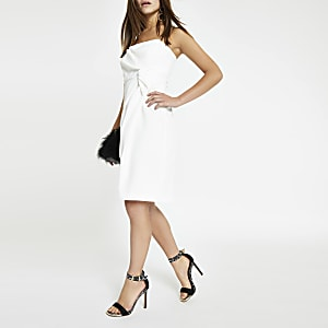 Petite white bodycon knot front dress