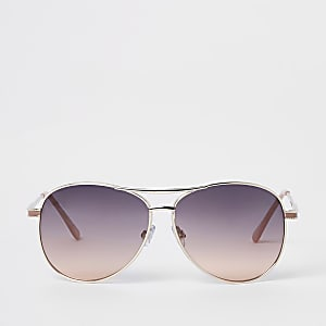 6b211afbbe Gold tone smoke lens aviator sunglasses