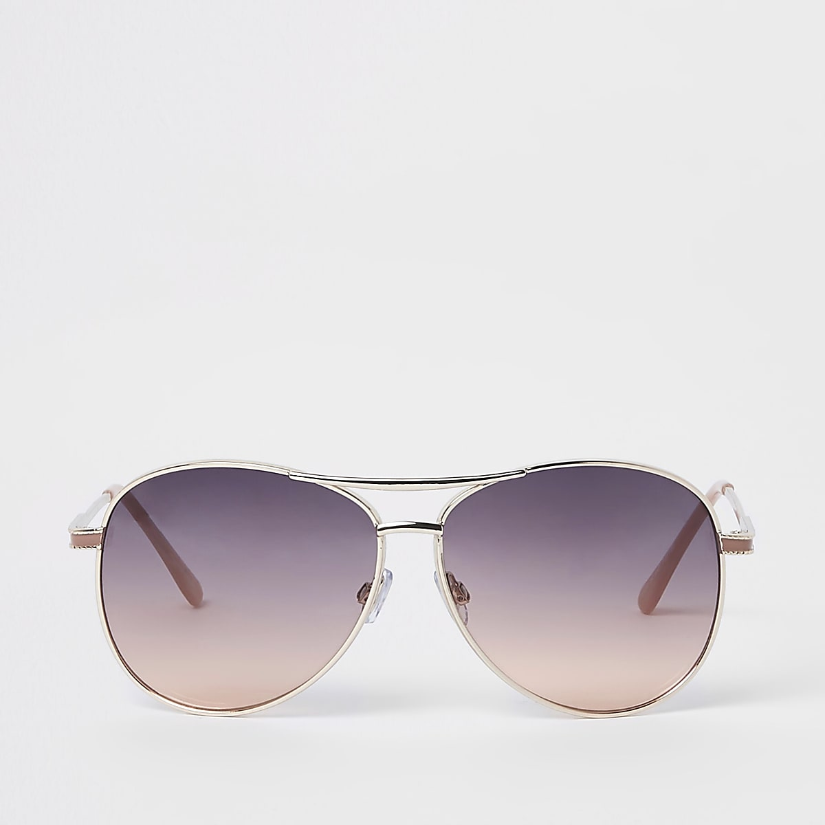 Gold tone smoke lens aviator sunglasses