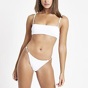 Bas de bikini côtelé blanc orné