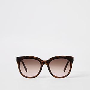 Lunettes de soleil glamour carrées motif écaille de tortue marron