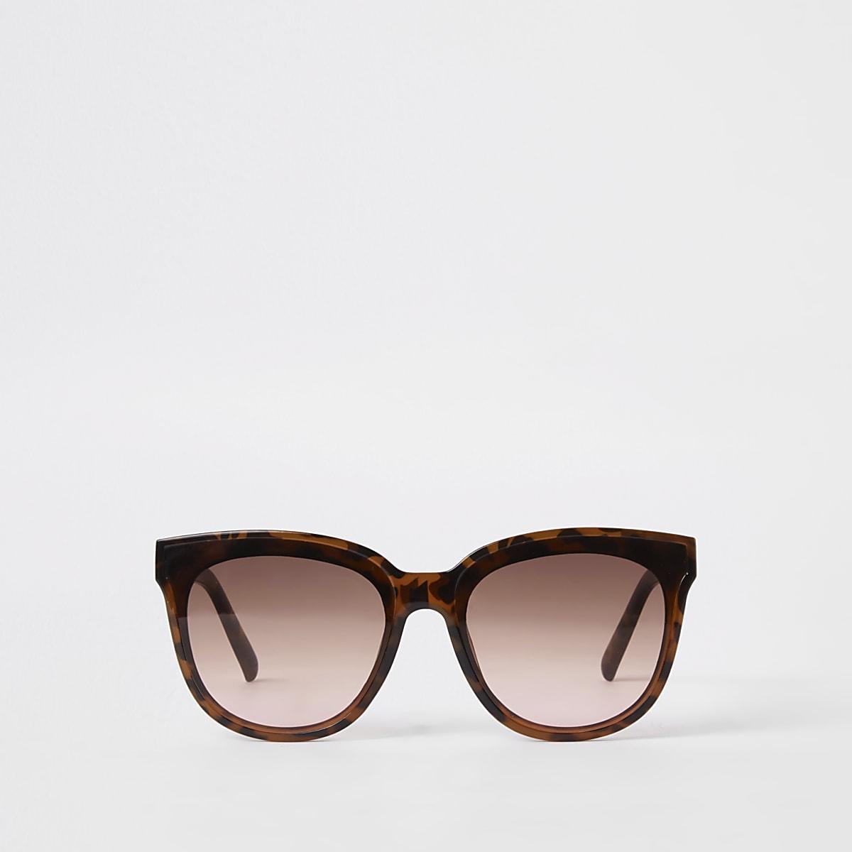 Brown tortoise shell square glam sunglasses