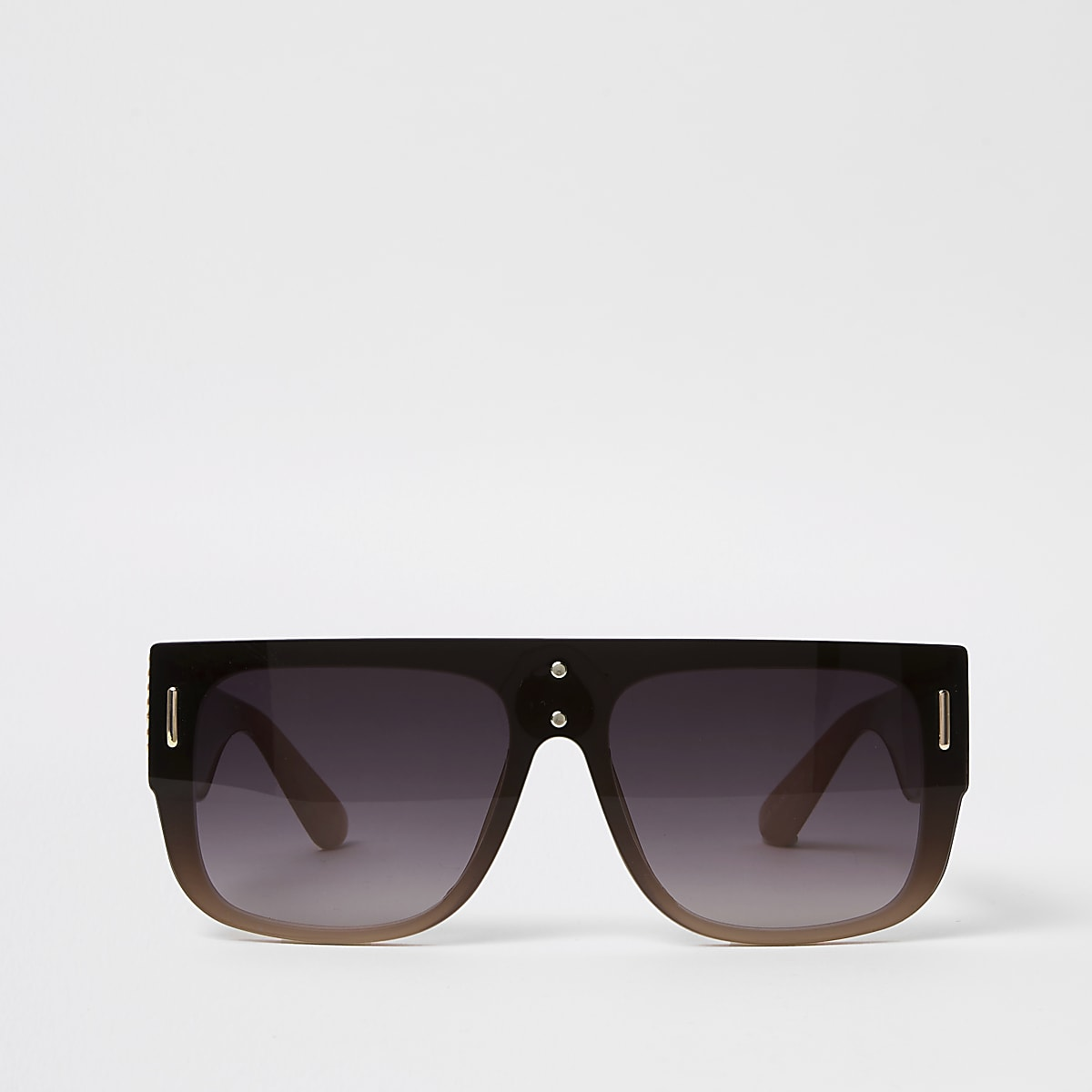 Black smoke lens flat top sunglasses