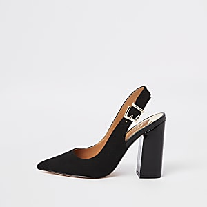 Black wide fit slingback court shoes