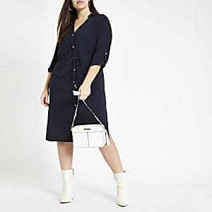 Plus navy belted button shirt dress