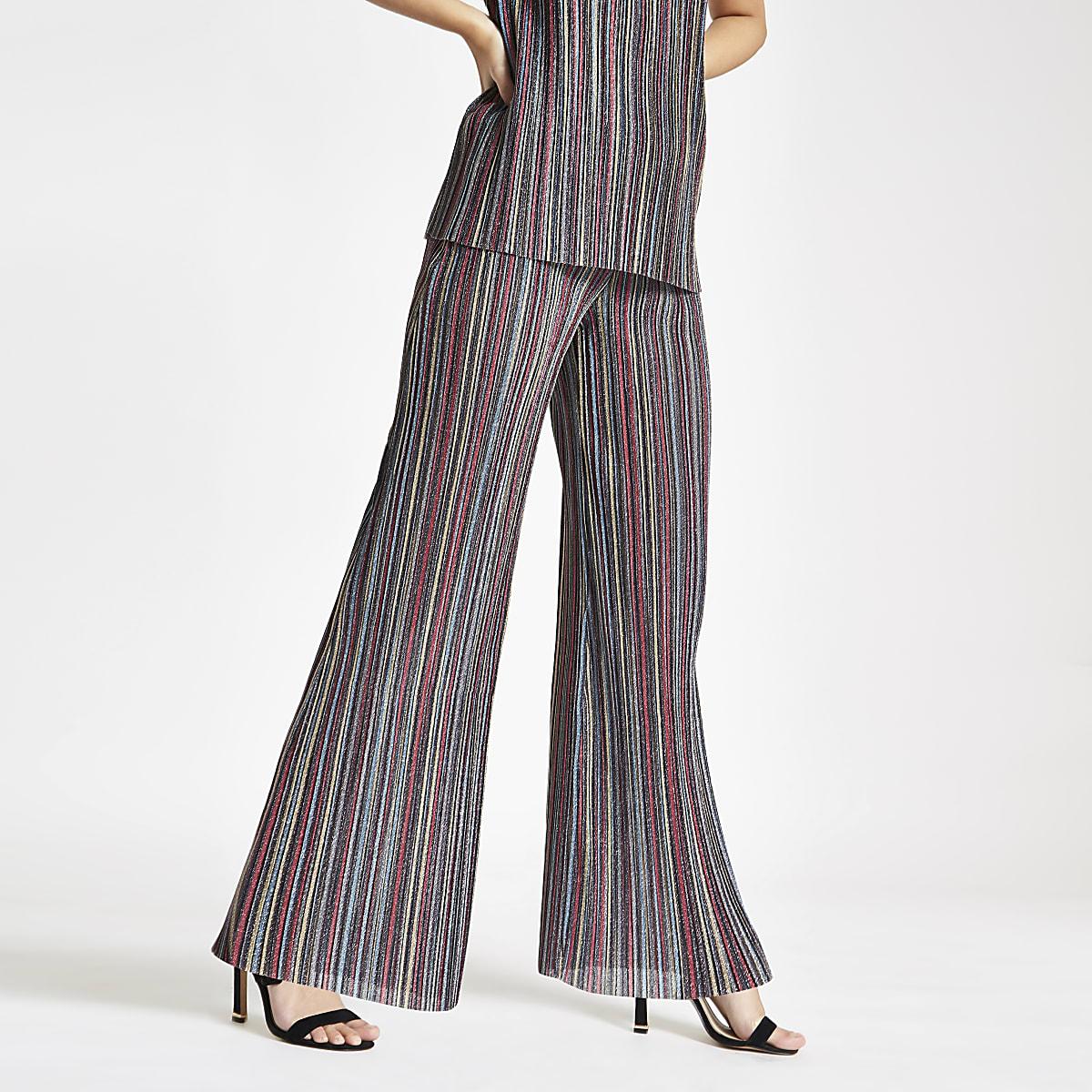 Pink stripe plisse wide leg pants