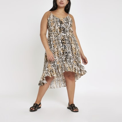 Plus black snake print cover up beach dress