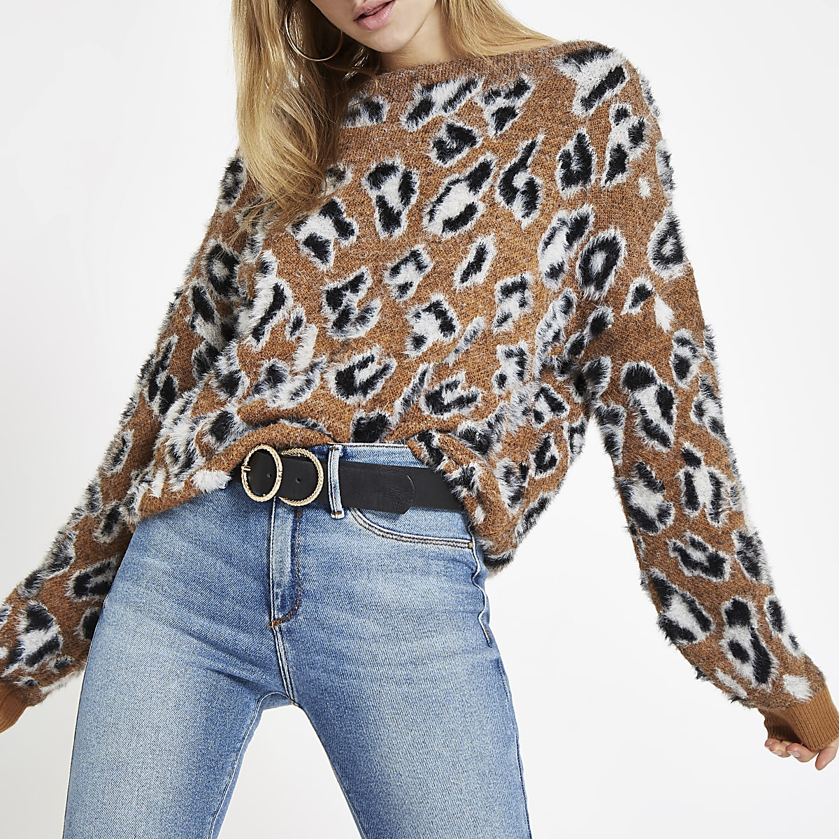 Brown leopard print slash neck sweater