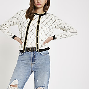 Cream geo heart print cardigan