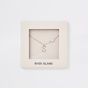 Rose gold colour 'S' initial necklace