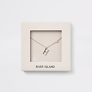 Rose gold colour 'H' initial necklace