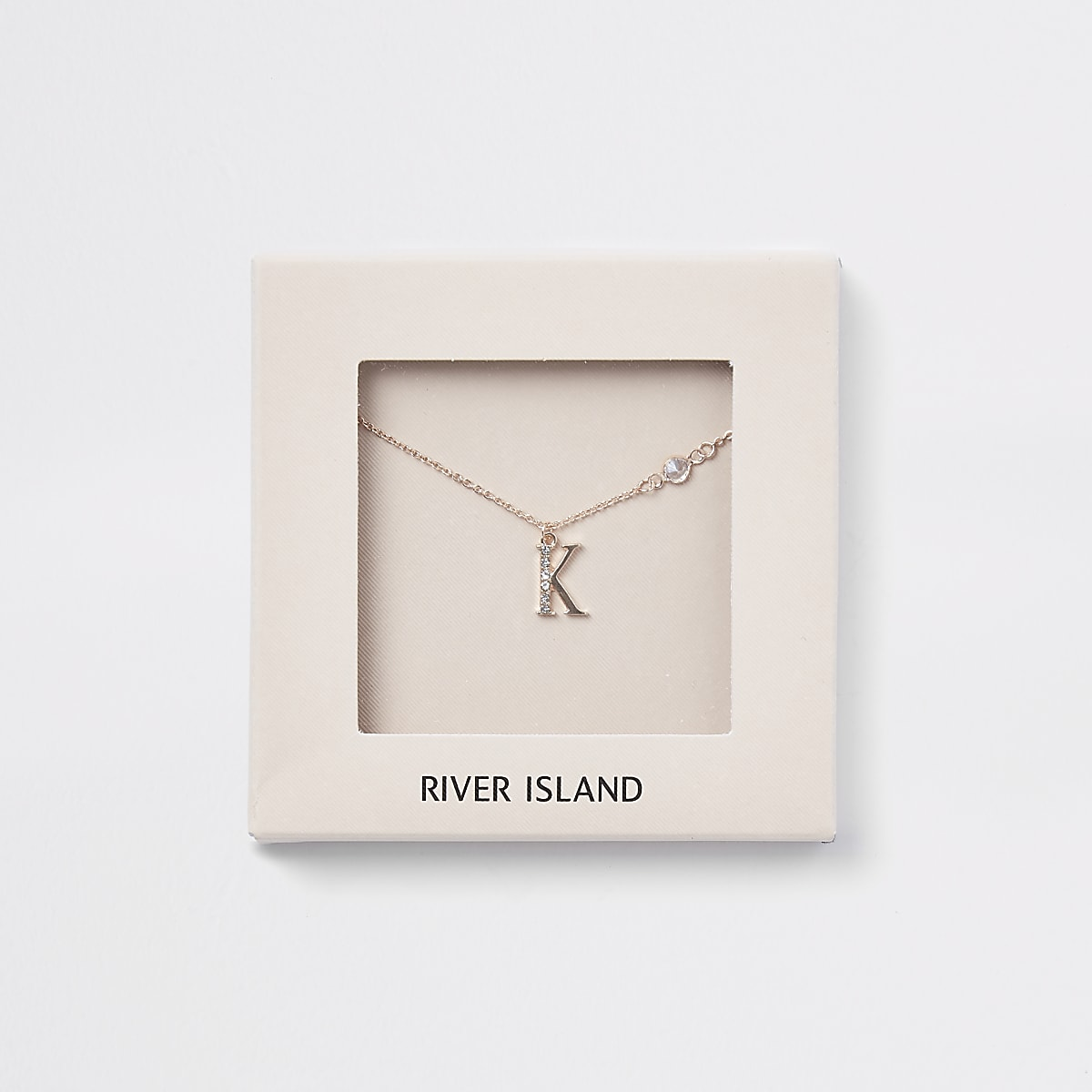 Rose gold colour 'K' initial necklace