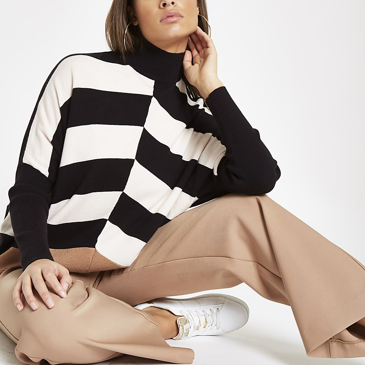 Black stripe block turtle neck jumper