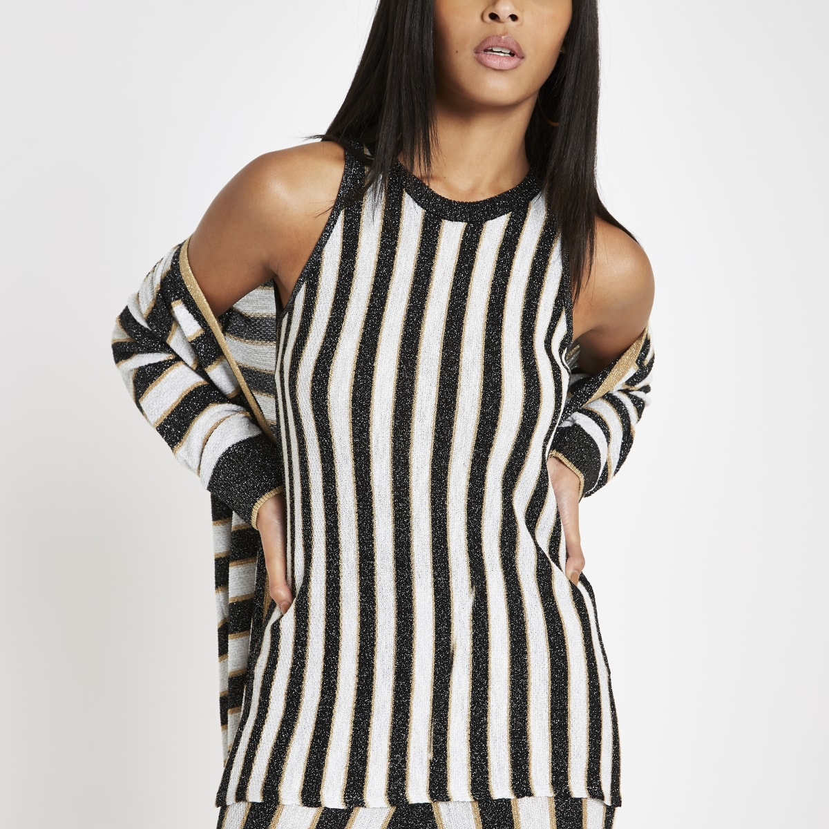 Black metallic stripe knit vest