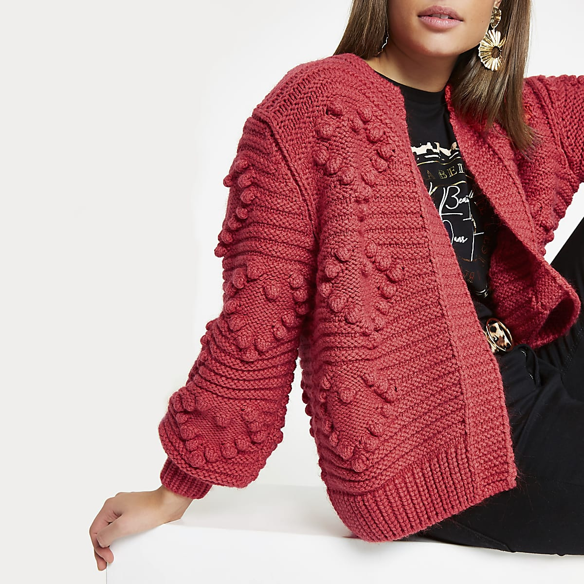 Red heart bobble chunky knit cardigan