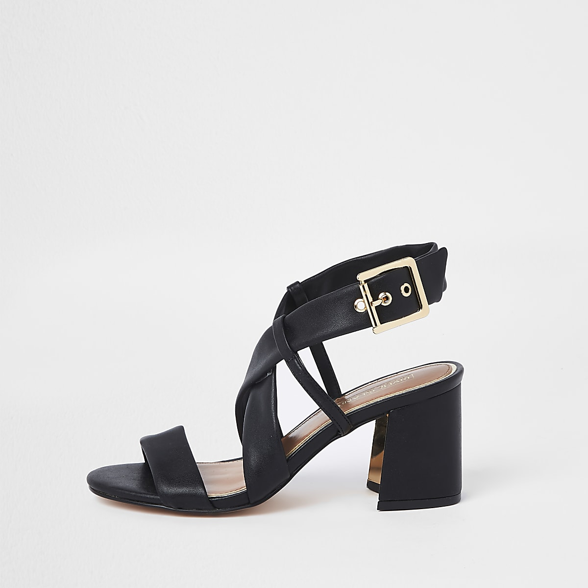 Black strappy wide fit block heel sandals