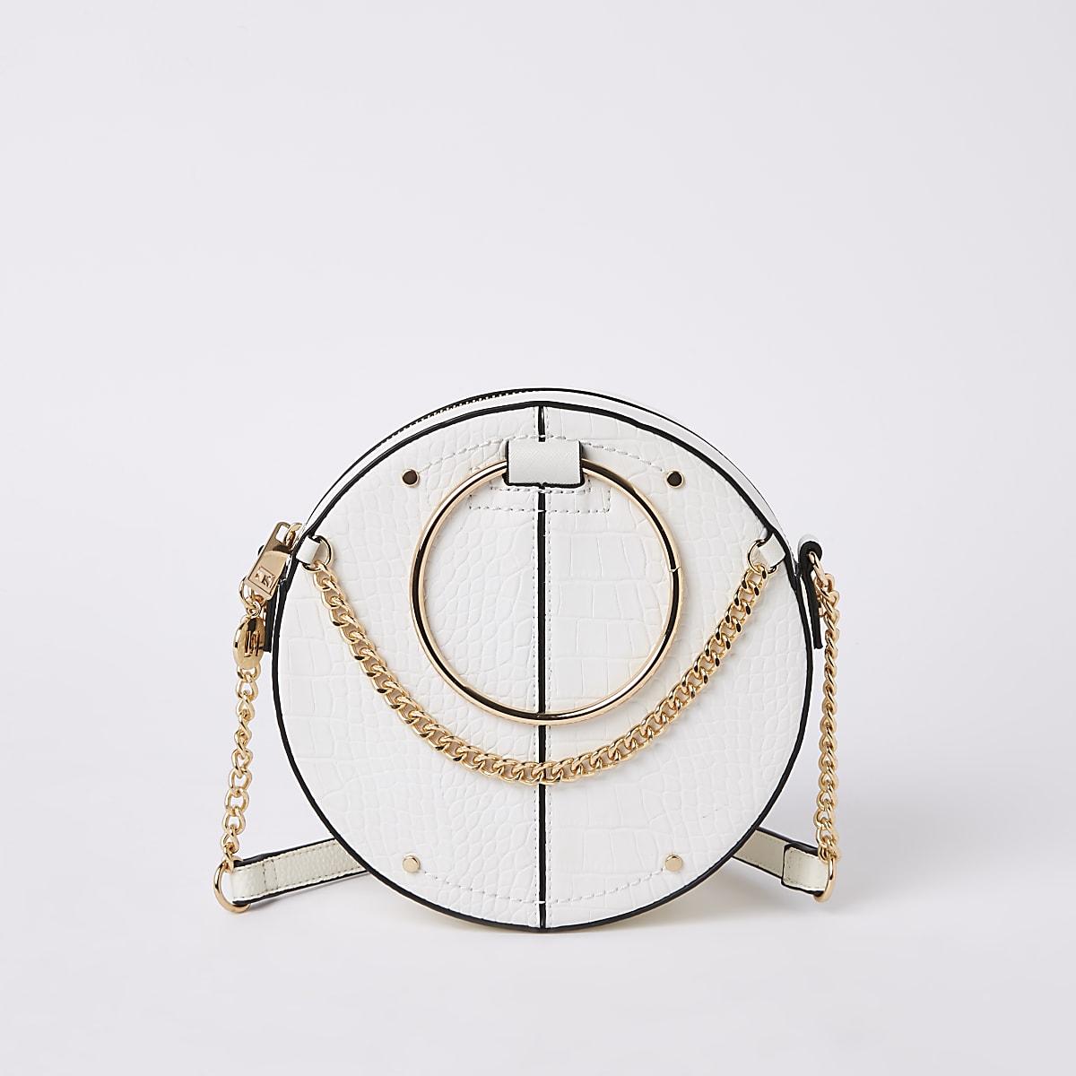 White croc ring handle circle cross body bag