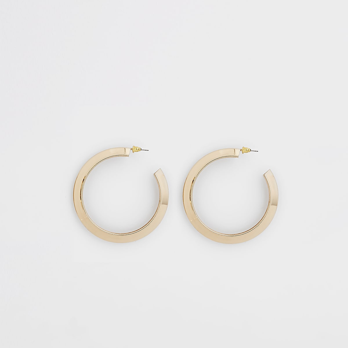 Gold color chunky hoop stud earrings
