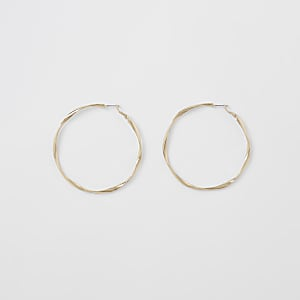 Gold colour twist hoop earrings