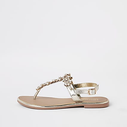 Gold embellished leather sandal