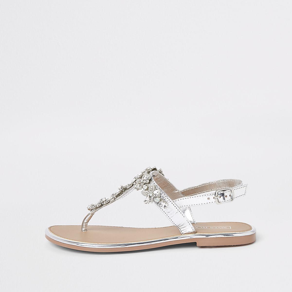 Silver leather jewel embellished flat sandals