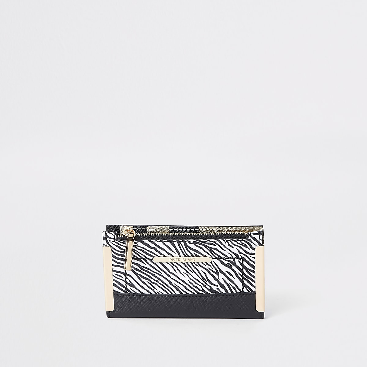 White zebra print mini foldout purse