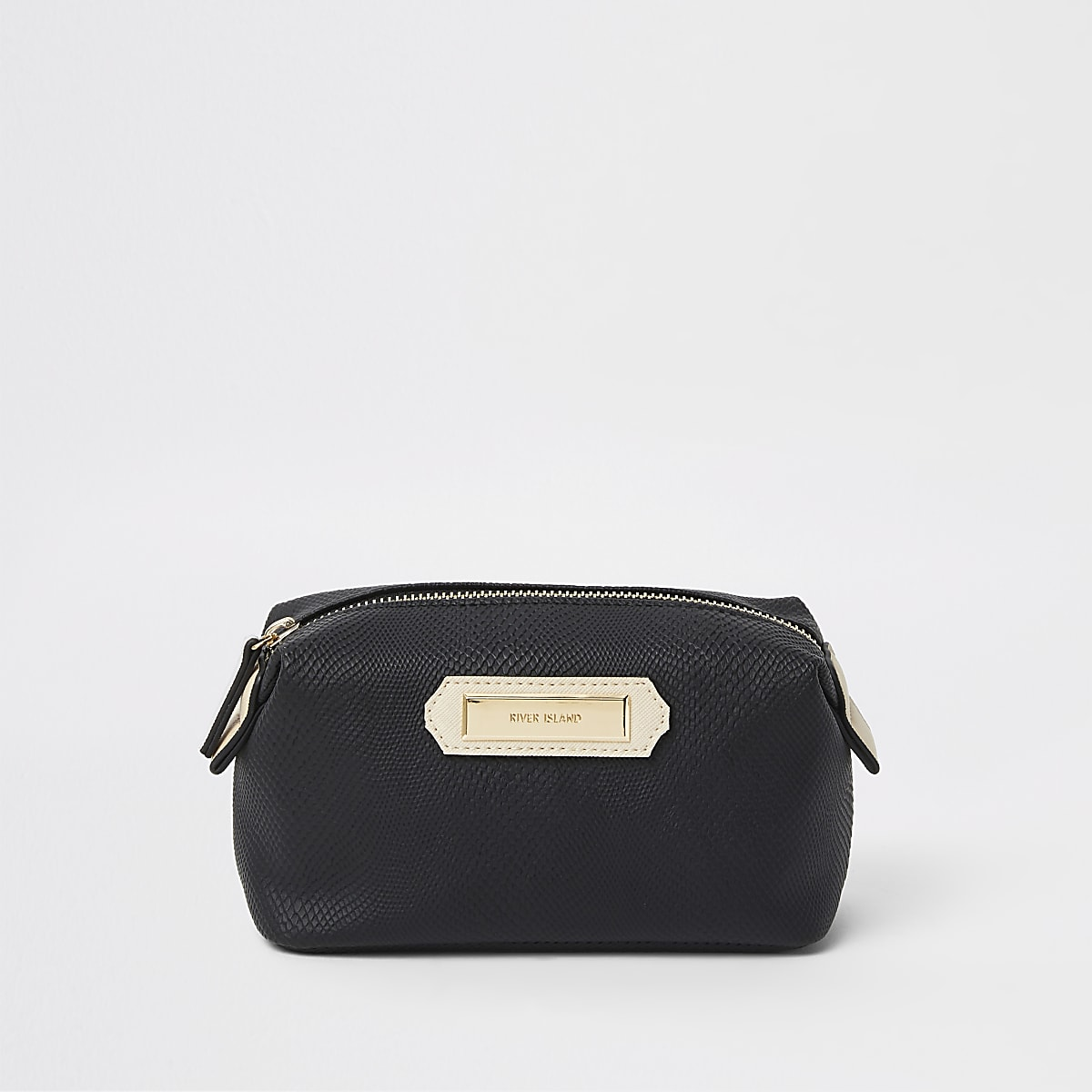 Black zip top makeup bag