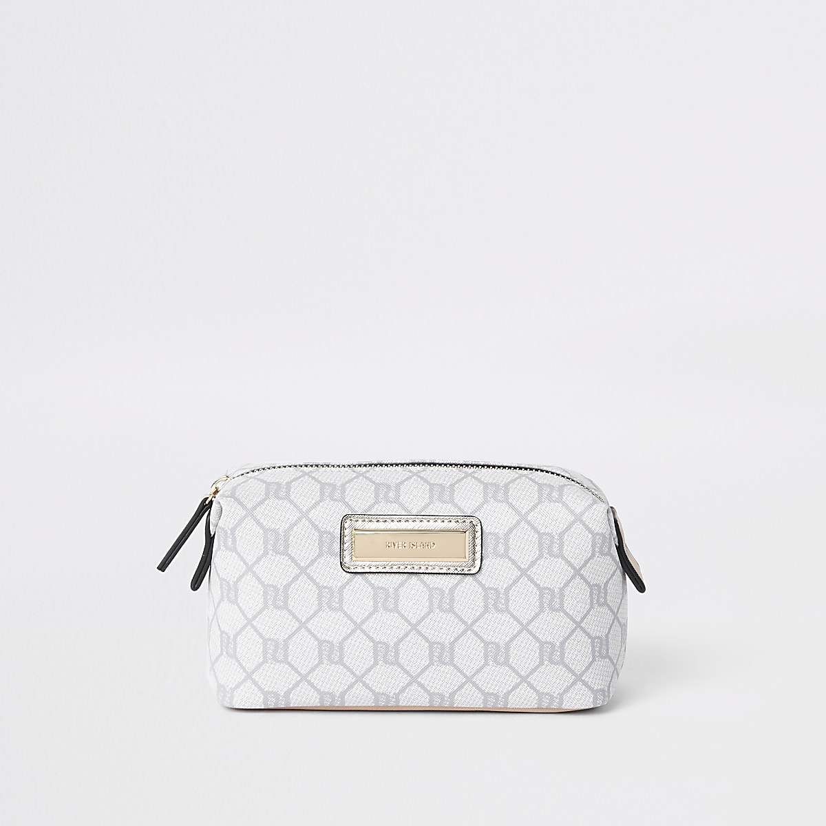 Beige RI monogram makeup bag